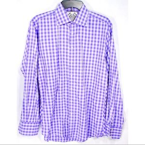 Thomas Pink Mens Gingham Dress Shirt Purple White